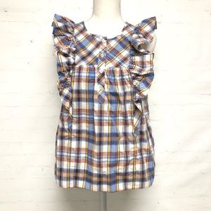 J. Crew Gingham Tank With Ruffles
